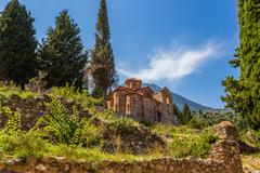Byzantine church in medieval city of Mystras Stock Photos