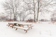 Benches in the snow at wintertime - stock photo