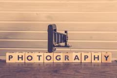 Vintage camera on a photography sign Stock Photos