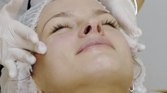 Woman Getting A Face Massage In Spa Salon Stock Footage
