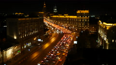 Night intensive Traffic Time Lapse - Moscow, Garden Ring road Stock Footage