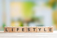 Lifestyle sign on a wooden table Stock Photos