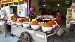 Orange Spice powder shop Thailand Stock Footage
