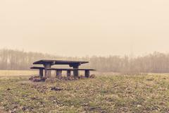 Bench in a park in the mist - stock photo