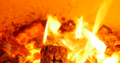 the dying embers in the fireplace - stock footage