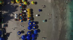 Top View of Umbrellas in Pernambuco Beach, Brazil Stock Footage