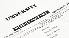 University Student's Index Card Degree Admission - stock footage