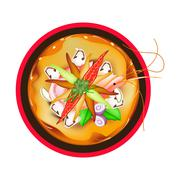 Tom Yum Goong or Thai Spicy Sour Soup with Prawns - stock illustration