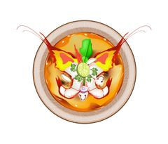 Tom Yum Goong or Thai Sour Soup with Prawns - stock illustration