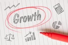 Growth note with sketches Stock Photos