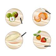 Chinese Broccoli, Rainbow Swiss Chards, Leek and Scallion - stock illustration