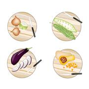 Onions, Bitter Squash, Eggplant and Butternut Squash - stock illustration