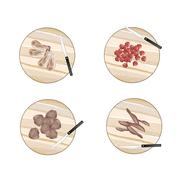 Variety of Raw Meat on Cutting Boards Stock Illustration