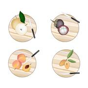 Stock Illustration of Chinese Pear, Mangosteens, Peach and Sapodilla on Cutting Boards