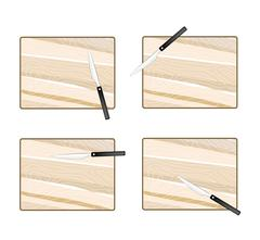 Four Empty Wooden Cutting Boards with Knives - stock illustration