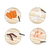 Duck, Salmon, Prawns and Squid on Cutting Boards Stock Illustration
