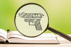 Weapon information with a pencil drawing Stock Photos