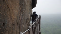 Rocks trail in Sigiriya.  Sri lanka, Asia. Place with a large stone and ancient Stock Footage