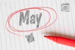 May memo note on paper Stock Photos