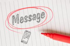 Message note in a red marked circle Stock Photos
