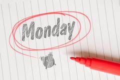 Monday note with a red marker - stock photo