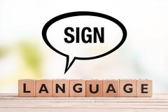Stock Photo of Braille language lesson sign on a table