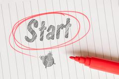 Start note with a red drawn circle Stock Photos