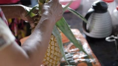 How To Cut A Pineapple, Street Food in Sri Lanka, high framerate Stock Footage
