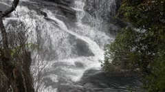 Waterfall in mountains in Sri Lanka, horton plains, wolds end Stock Footage