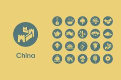 Set of China simple icons Piirros