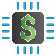 Dollar Chip Gradient Vector Icon - stock illustration