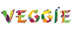 Veggie Fruit Vegetables Word Letters Stock Illustration