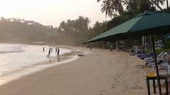 Ocean seascape scenic off mirissa beach, sri lanka with wave crashing on sandy - stock footage