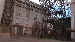 Industrial metal constructions near industrial buildings Stock Footage