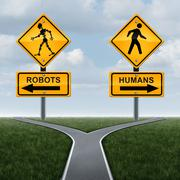 Robots And Society Concept - stock illustration