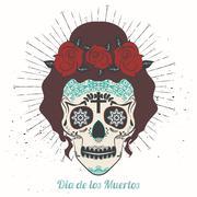 Ornamental sugar skull girl Stock Illustration