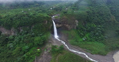 A Waterfall in Paradise (Manto de la Novia) - Flying Away from Falls - stock footage