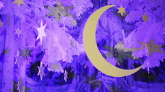 Fantastic winter night sky decorations with moon and stars, lullaby background Stock Footage
