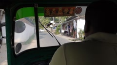 Pov Ride in tuk tuk motor taxi point of view, Asia Stock Footage