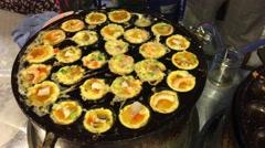 Preparing Kanom Krok Coconut Pancakes Stock Footage