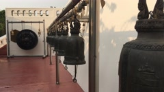 Bells at the golden mount in Bangkok Stock Footage