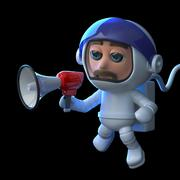 3d render of an astronaut in space using a megaphone. Stock Illustration