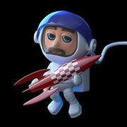 3d render of an astronaut floating in space and holding a small red rocket. - stock illustration