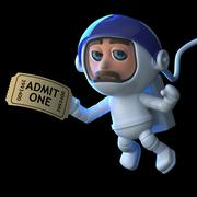 3d render of an astronaut floating in space holding a movie ticket. - stock illustration