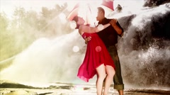 In Love Elegant Couple Dancing By Waterfall Stock Footage