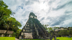 Clouds Behind Mayan Temple Time Lapse 4K 1080P Stock Footage