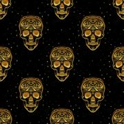 Gold ornamental sugar skull seamless pattern Stock Illustration