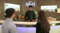 The barman serves cocktails Stock Footage