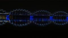 Night train on the bridge, 4K Stock Footage