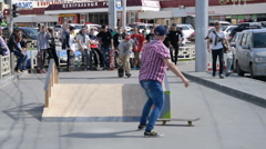 Failing skateboarding in the city Stock Footage